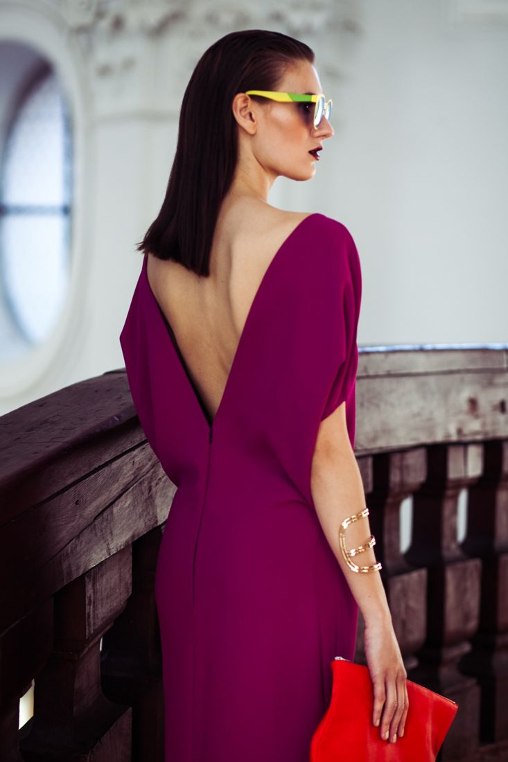 REETIMEE 2015 long magenta dress backless