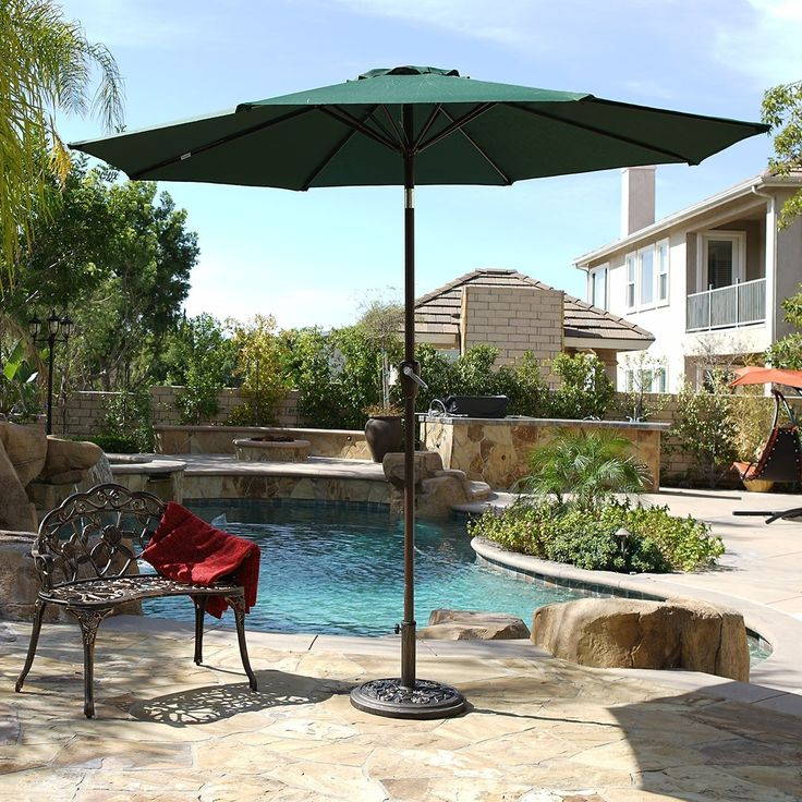 Belleze 9 Ft Steel Outdoor Patio Umbrella with Tilt Crank, 8 Steel Ribs, Polyester (Dark Green)