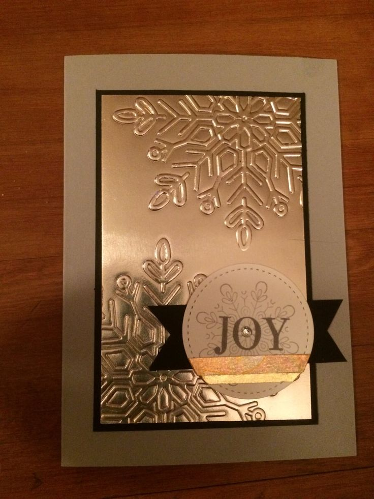 Christmas Card using Champagne Foil, Washi tape, and Winter Wonder Embossing folder