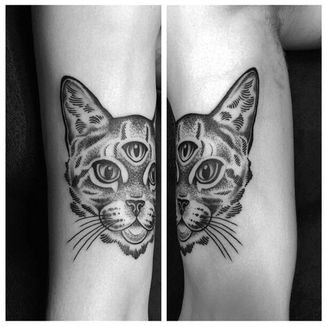 Three eyed cat tattoo, by Rory Pickersgill from Dragon Tattoo Eindhoven. #cat #tattoo #cattattoo #rorypickersgill #dragontattoo
