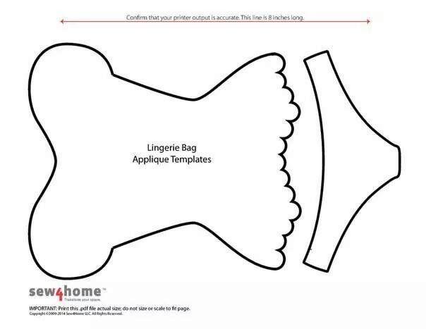 Lingerie bag applique templates
