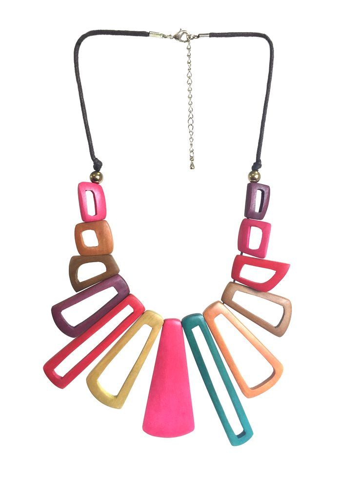 One Button short length necklace with cut out wooden graduated shapes #pink #multi #bigboldbright #necklace #accessories #onebutton Click here to see more products from the One Button shop.