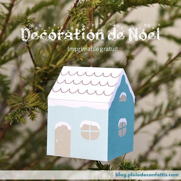 maison en papier decoration de Noel imprimable gratuite