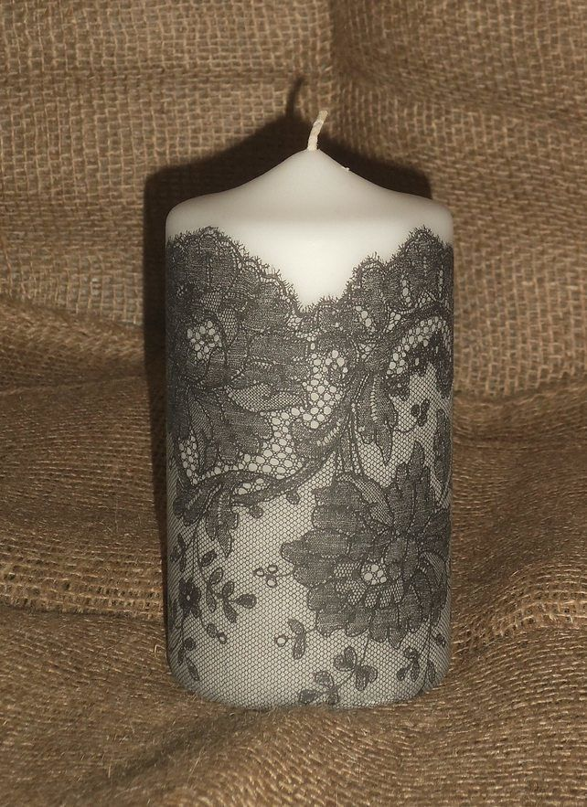 "Decorated candle Black White Lace napkin decoupage Ladies Delicate Unusual 6"" £8.00"