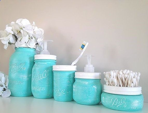 Painted Mason Jars Home Decor Bathroom Decor Bathroom Oh my gosh Im gonna do this. All matching. And I like having the metal band painted and used as an accent without the lid being on.