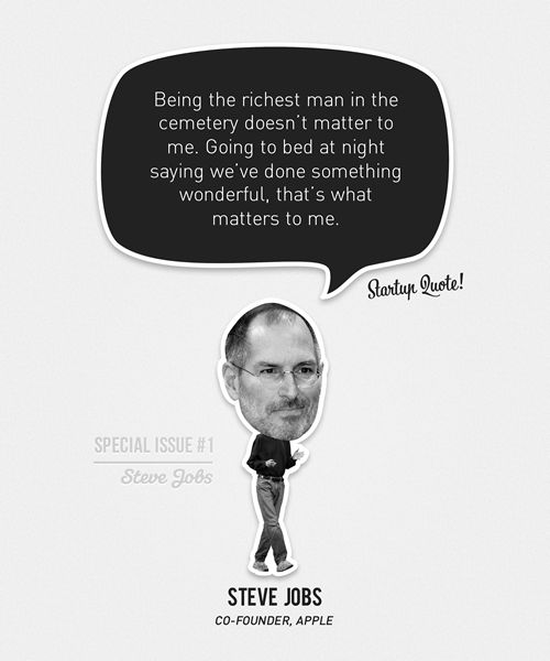 Being the richest man in the cemetery doesn't matter to me. Going to bed at night saying we've done something wonderful, that's what matters to me. Steve Jobs