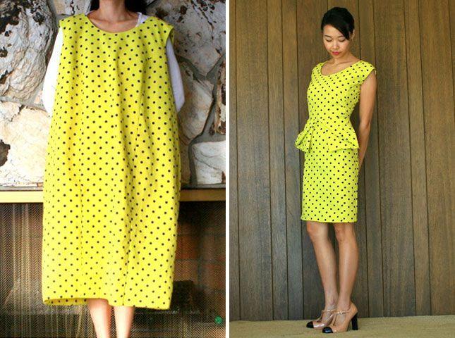 Oversized Dress into Peplum   10 Clever DIY Dress Hacks