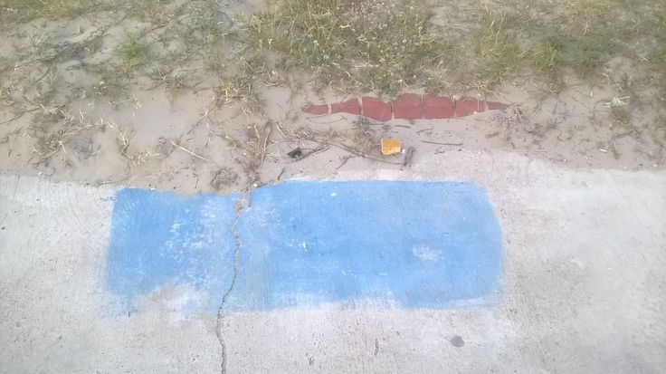 A random blue rectangle on the pavement. Could it be a burial marker? Is it an assembly point? Was it a very neat spillage?