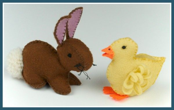 Felt Duckling and Easter Bunny Template