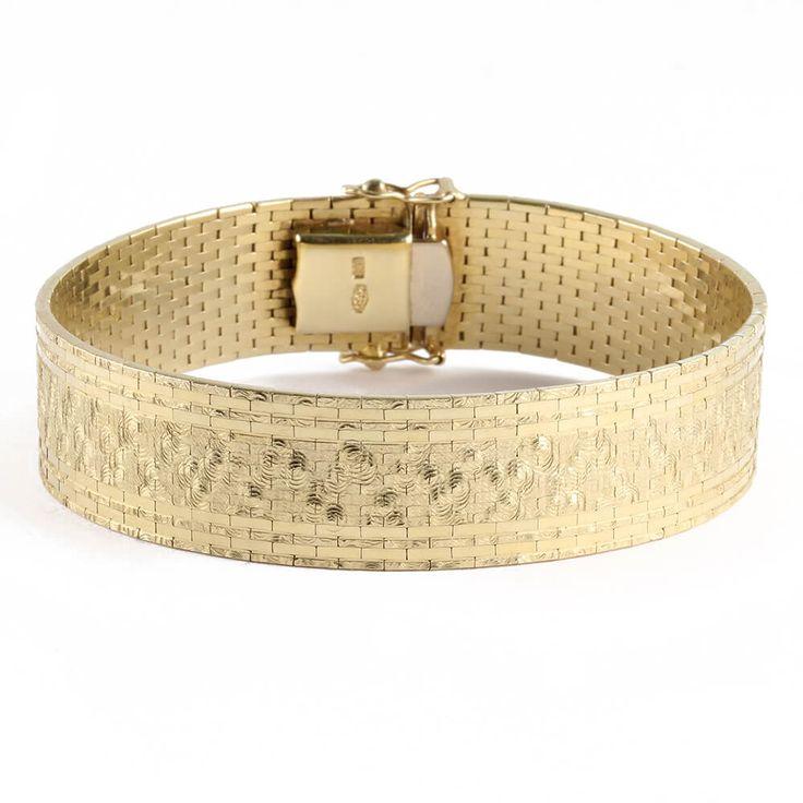 Vintage um 1950 breites Armband aus Gold 14 Karat 585er Gelbgold ca. 38,8 Gramm