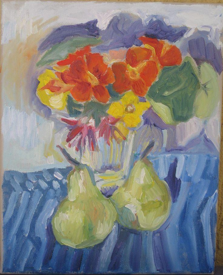 Pears and nasturtiums