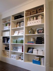 Customized IKEA Billy bookcases.