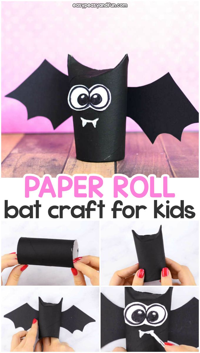 Toilet paper roll bat craft idea for kids. Fun Halloween craft for kids to make …