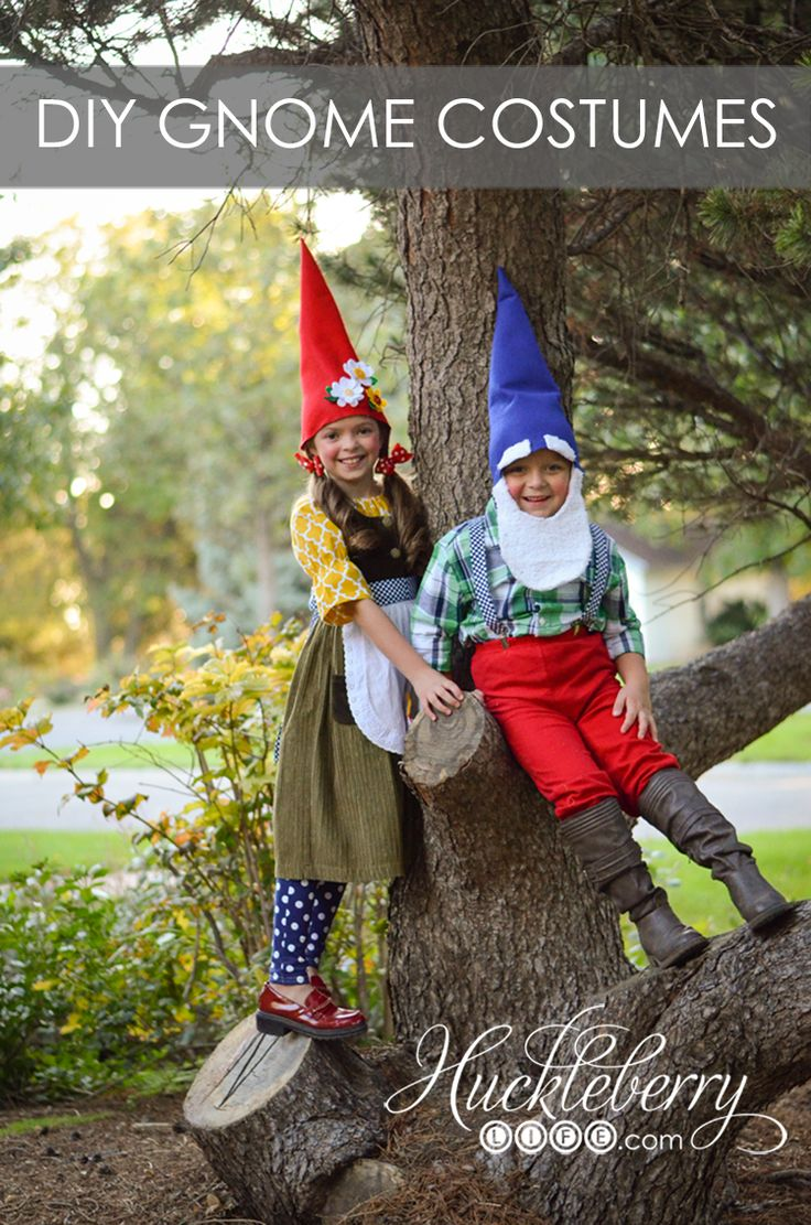 "DIY Gnome Halloween Costumes These adorable costumes were made ""on the cheap"" and the photoshoot turned out so great!"