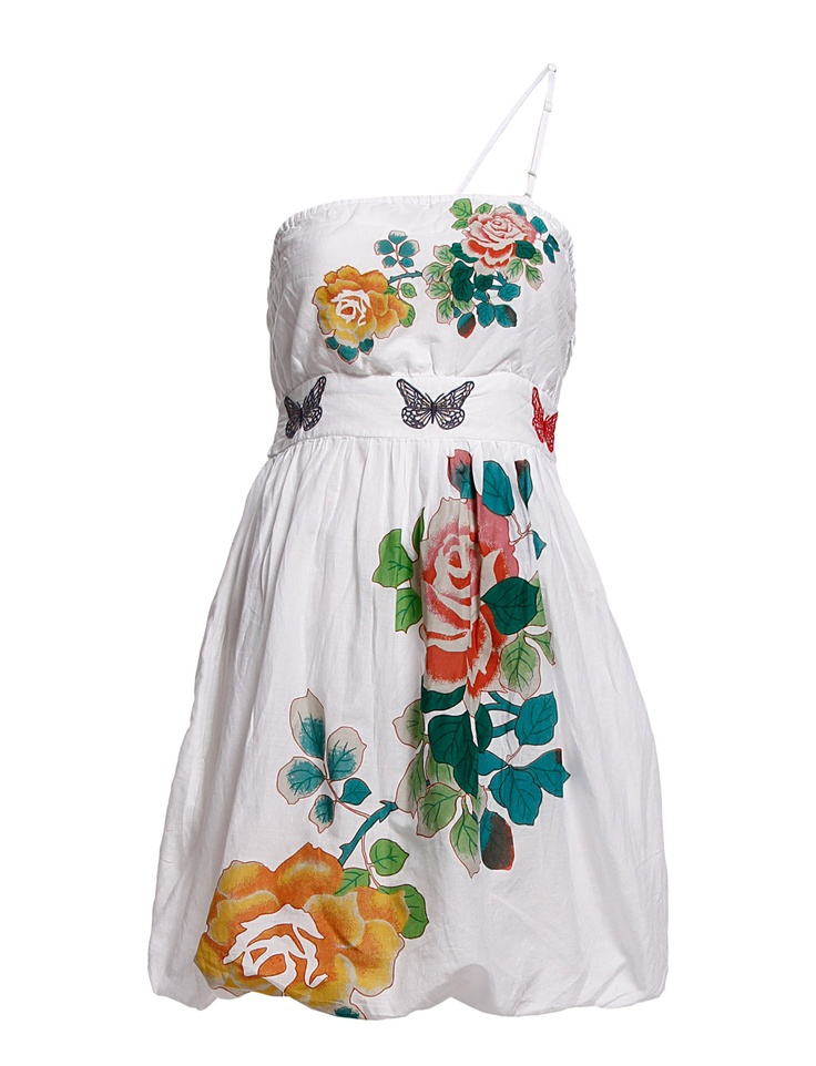VEST_CARETHA - Go with the white-haute trend this summer in this Desigual dress with a tasteful balloon hem. It features fantasy florals that curl down the front and back of this garment. This dress can be worn strapless or over one shoulder, for two different looks.   *Bandeau or one-shoulder style  *Self tie sash at the back  *Zipper at the side hem  *Logo detail