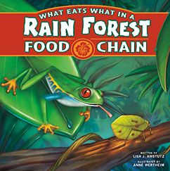 What Eats What in a Rain Forest Food Chain #FoodChain #RainForest #FoodWeb    A tropical rain forest teems with life. From a cacao tree to a king vulture, the living things in this book are linked together in a food chain. Each one of them needs the others in order to live. Find out what eats what in a rain forest!