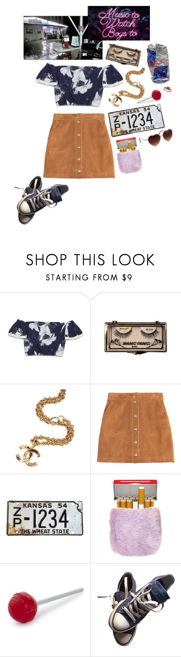 """queen of the gas station"" by psychedlia ❤ liked on Polyvore featuring Chanel, GAS Jeans, Emilio Pucci, Fred, Converse and lanadelrey"