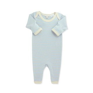 WILSON & FRENCHY BLUE STRIPE EASY NECK GROWSUIT - $34.95 - 100% cotton blue stripe rib long sleeve growsuit with snap fastening and easy neck opening. #sweetcreations #baby #boy #fashion #designer #wilson&frenchy