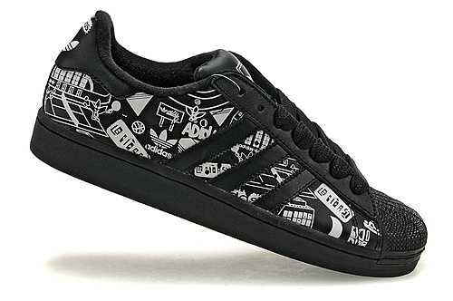 (FRDKe) Chaussures de Sport Femme Adidas Superstar 2 Graffiti Noir/Blanc 1