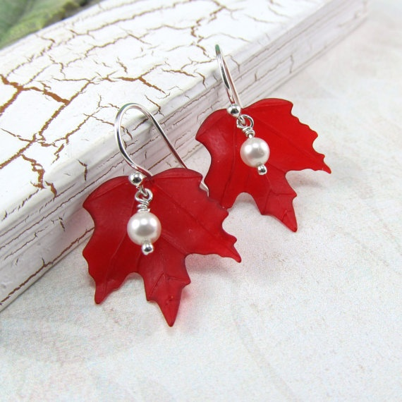 Canada Day Red Maple Leaf White Pearl Silver Earrings by BeadedEmbellishments on Etsy