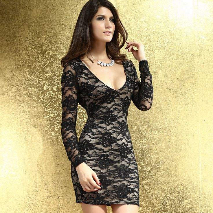 HOT New Fashion Ladies' Dress,Elegant Slim lace embroidered long-sleeved sexy dress Women's party dresses Free shipping NA881