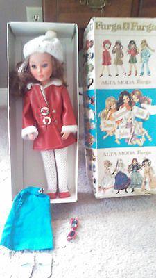 "Vintage 1960's Luigi Furga Fashion 17"" Doll, Bonnet, Parasol, Vinyl, Italy"