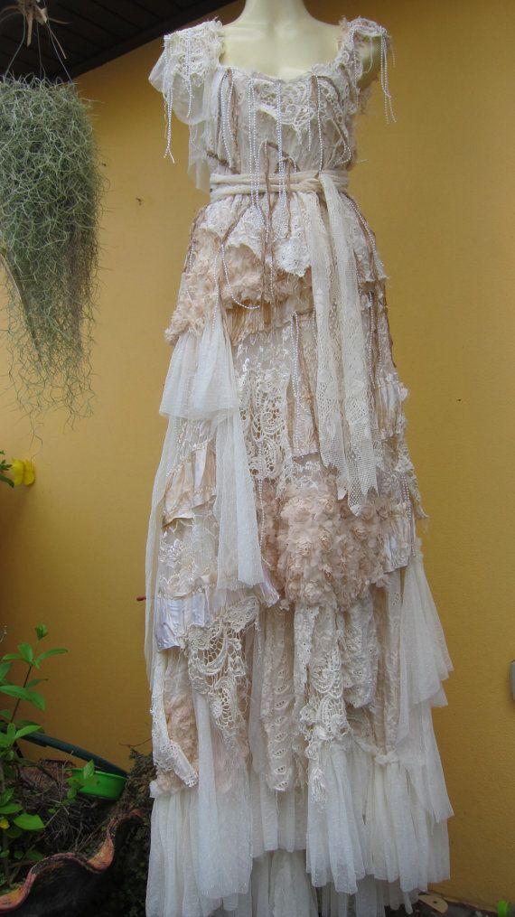 "vintage inspired shabby bohemian gypsy dress ...medium to 38"" bust..express 4 day shipping... $245.00, via Etsy."