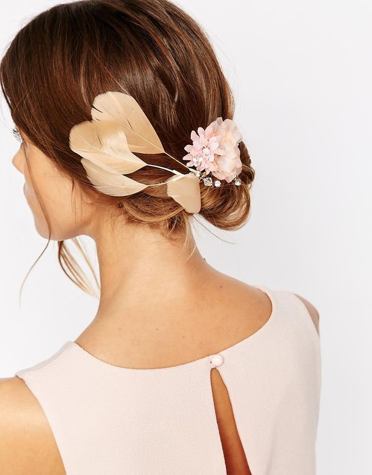 Image 1 of Erin Elizabeth For Johnny Loves Rosie Una Floral & Feather Hair Clip