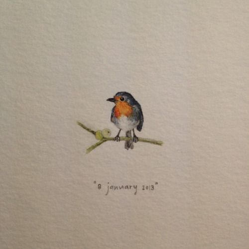 Day 8 : A robin for Robyn. Happy birthday! 20 x 15 mm. #365paintingsforants #watercolour #miniature #robin (at Vredehoek)