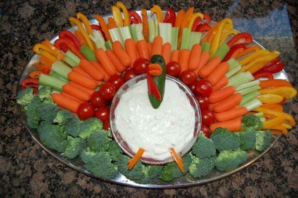 Cute Thanksgiving Idea Turkey Shaped Vegetable Platter