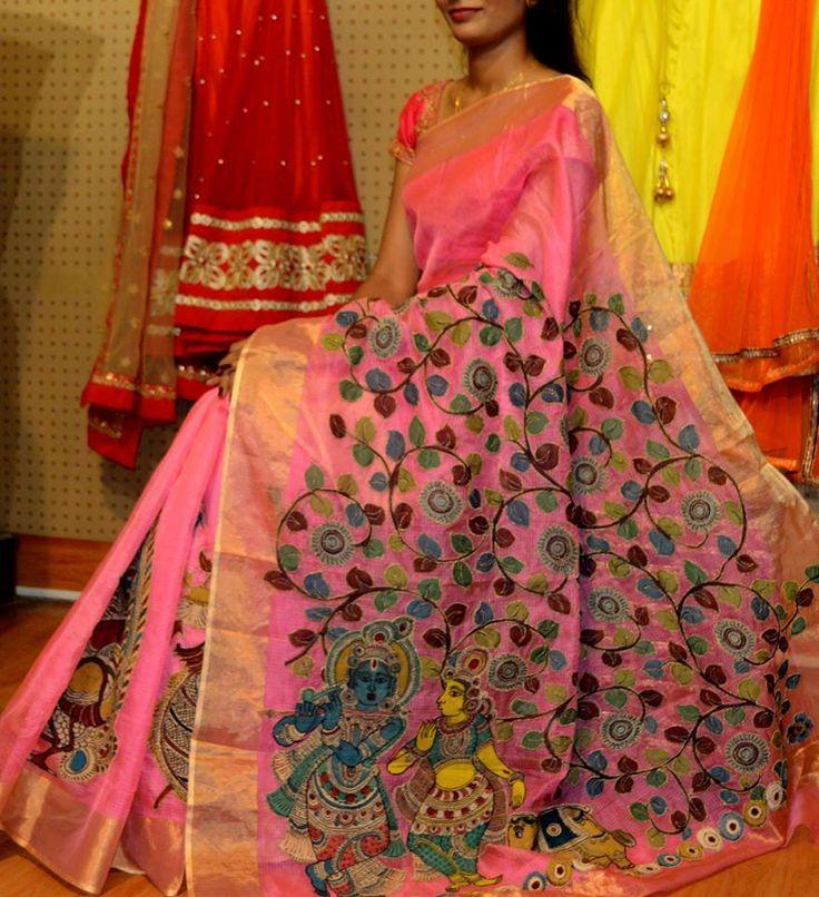 Designer kalamkari work with floral vines and Radha-Krishna