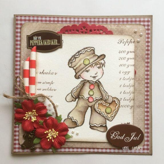Julekort med pepperkakemann