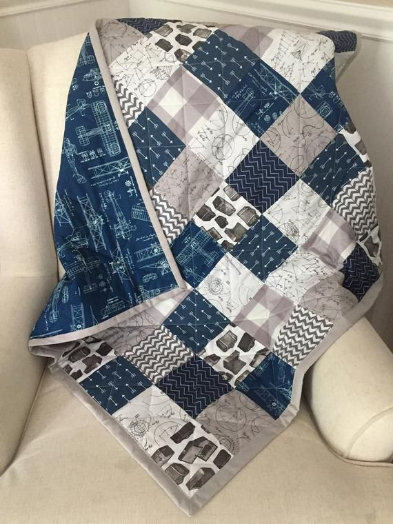 Ready To Ship Baby Quilt Crib Blanket Navy Marine Blue Gray Etsy Baby Quilts Neutral Quilt Charm Pack Quilts