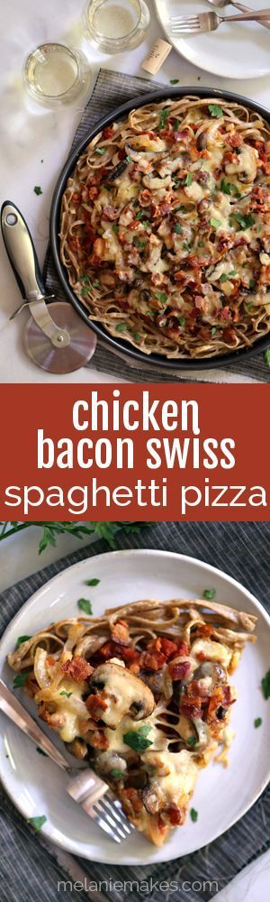 A pasta crust spiked with Swiss cheese is the base of this masterpiece.  Topped with bacon, chicken, mushrooms and onions which have all been cooked in rendered bacon fat, the entire pie is sprinkled with a generous amount of even more Swiss cheese, this Chicken Bacon Swiss Spaghetti Pie is perfect for a night in or a night with friends.