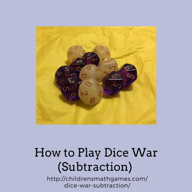 This dice game is very similar to the war card game. Dice can be used for many good math games. Use 10 sided dice to increase the subtraction problems to 20. This game is played with two or more players and for 5 rounds.