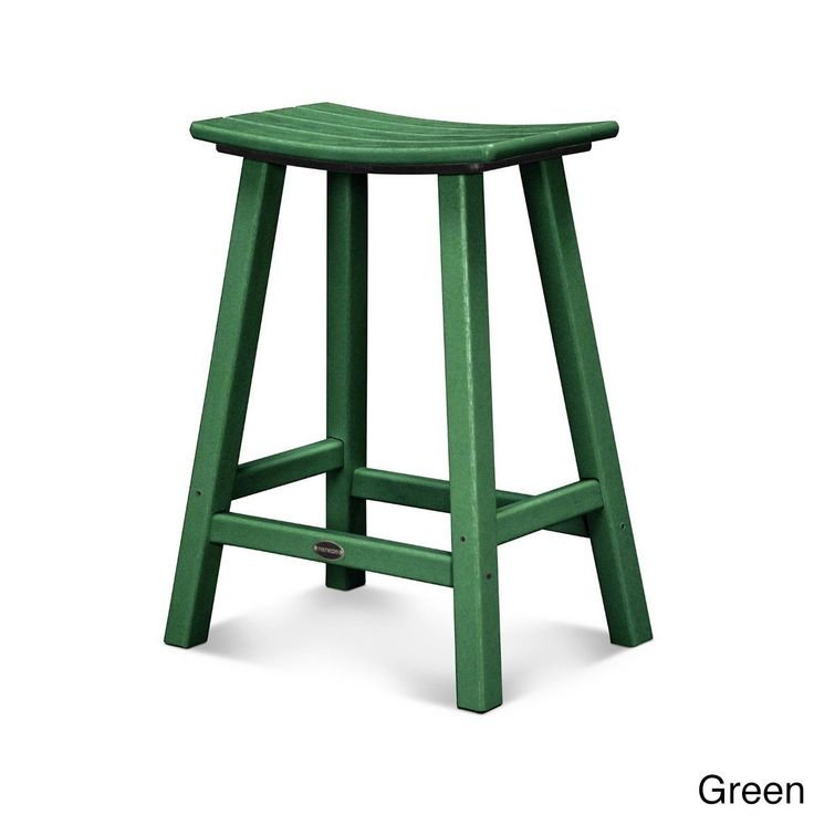 Polywood Traditional 24 Inch Saddle Bar Stool (Green), Patio Furniture  (Plastic