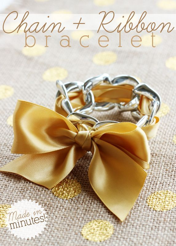 5-Minute Chain Link and Ribbon Bracelet - A great way to inexpensively punch up any outfit!