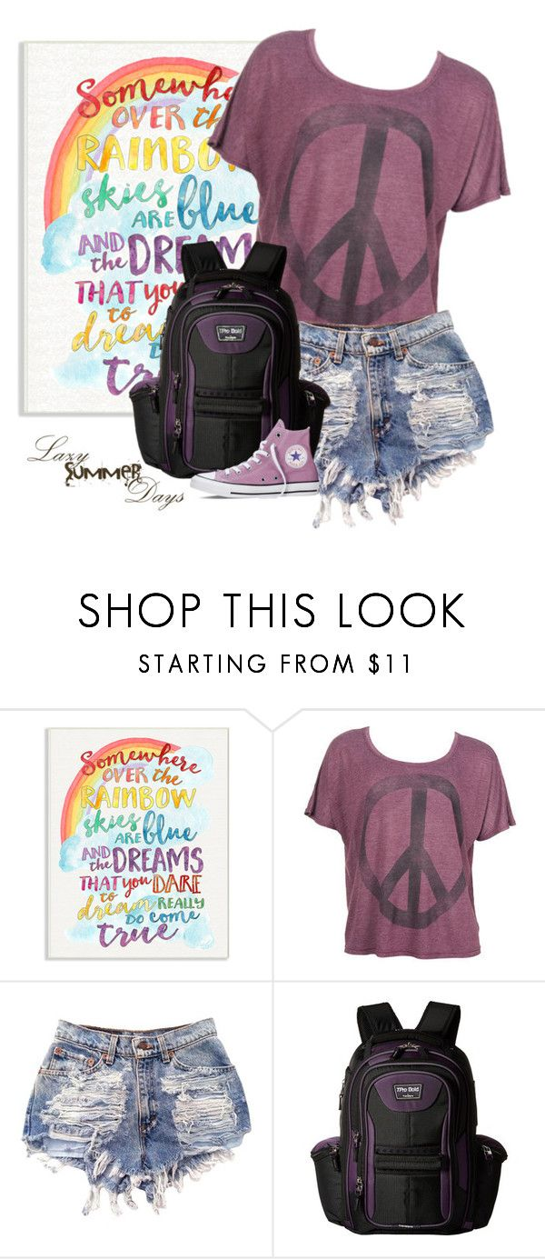"""""""Lazy Summer Days"""" by nightowl59 ❤ liked on Polyvore featuring Stupell, WKSHP, Travelpro, Converse and denimshorts"""
