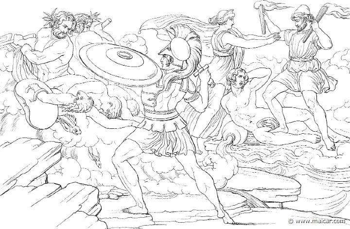 Achille minacciato dal fiume Scamandro (Hom.Il.21.272). Bonaventura Genelli (1798 – 1868)