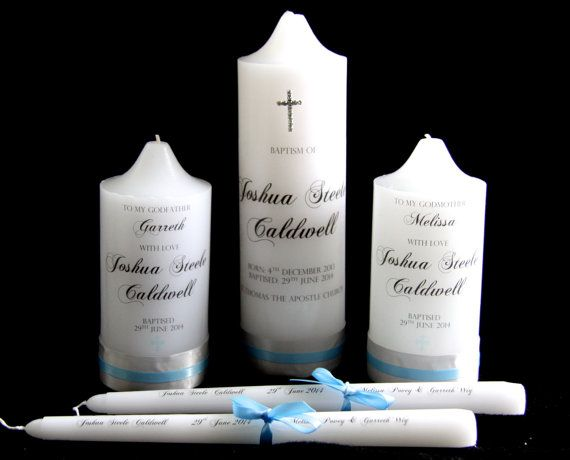 Personalised Girls or Boys Baptism Candle with by HandmadeByHaleyP, $19.95