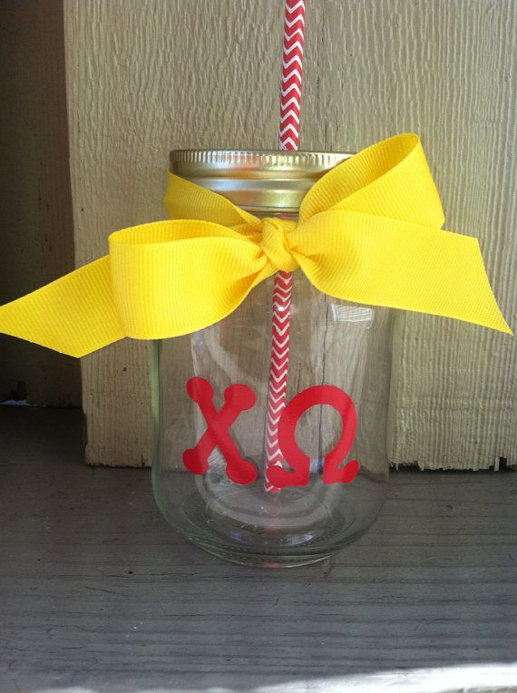 Chi Omega Personalized Mason Jar Cup w/ by TooCutePersonalized, $8.00