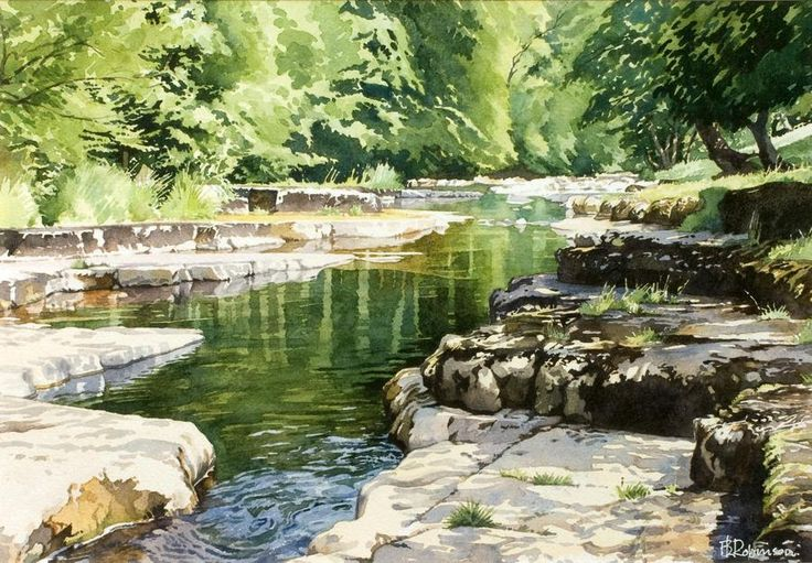 Outstanding painting! I could pin this on any of my watercolor boards... (The River Cover, watercolor by Brian Robinson)