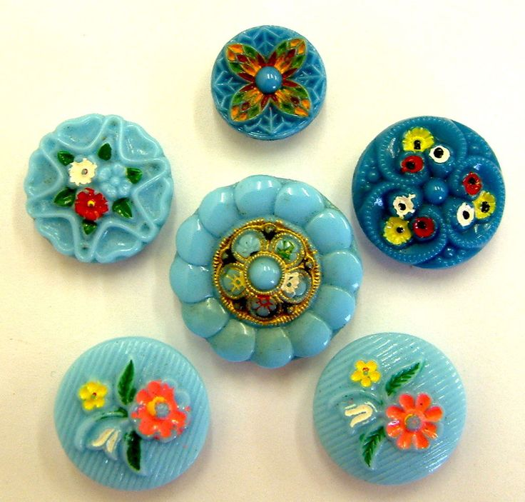 6 Early Vintage Turquoise Enamel Glass Buttons