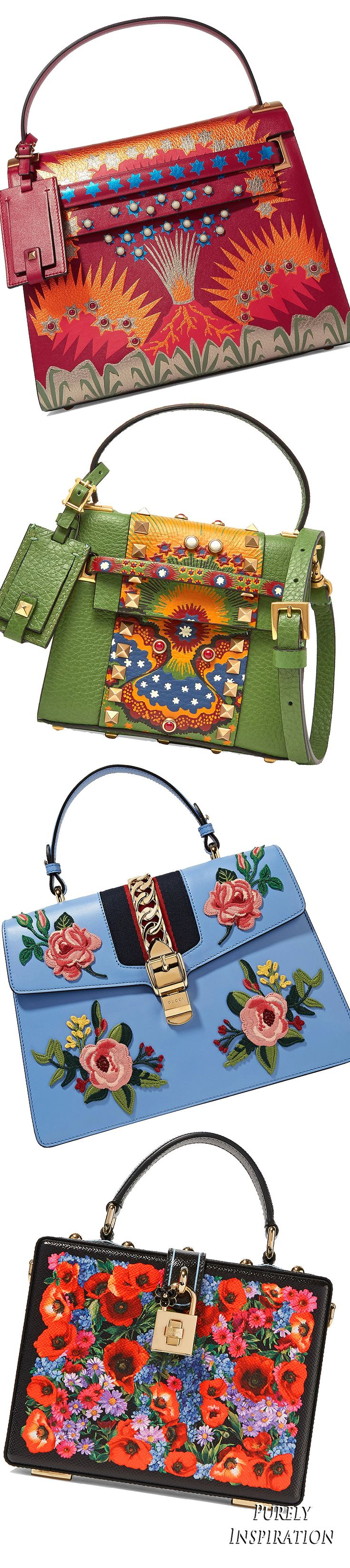 Multi-colored Net-a-Porter top handle bags (from the top Valentino, Valentino, Gucci, Dolce & Gabbana) Women's handbags | Purely Inspiration