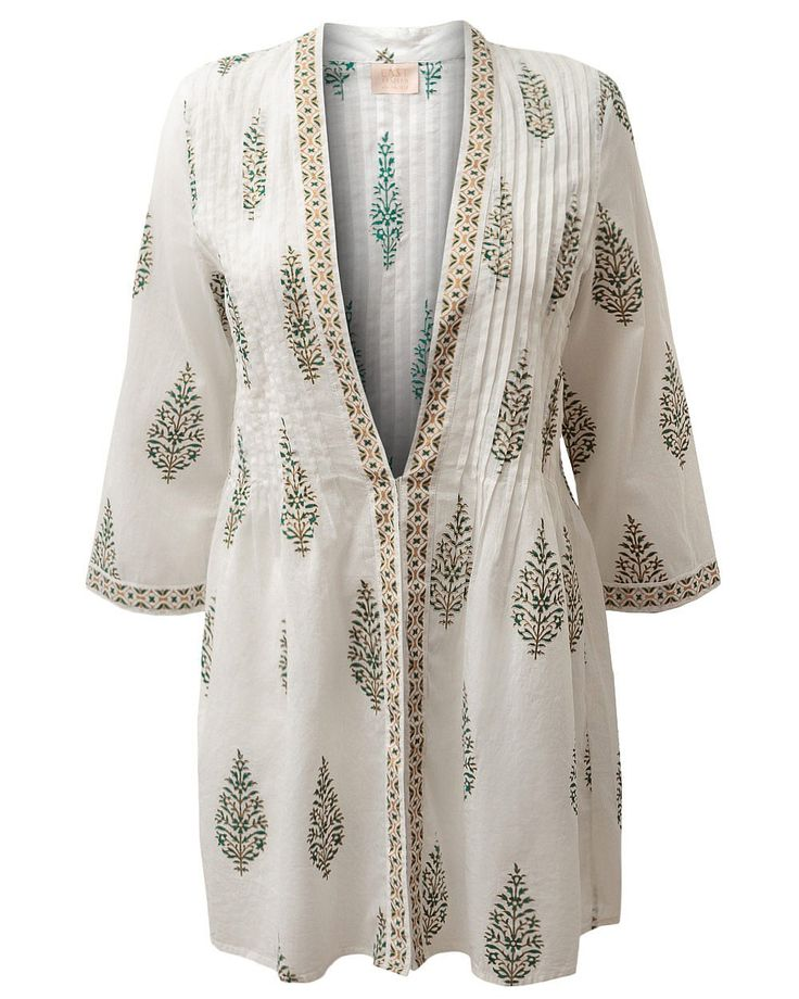 Anokhi Overpiece at East. An ethical employer in Jaipur, India, Anokhi maintains the traditional hand block printing with vegetable dies whilst aiming to unite the craftmanship of the East with the  fashions of the West http://www.anokhi.com/anokhi/