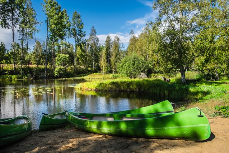 Canoes near Tainionvirta river. Outdoor Activities in Hartola, the Royal Parish of Finland | Nomad is Beautiful