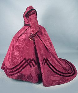 Garnet Silk Trained Reception Gown, c. 1864 Session 2 - Lot 780 - $4312.50