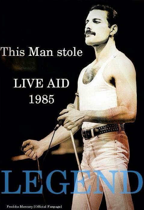 Freddie Mercury at Live Aid 1985.