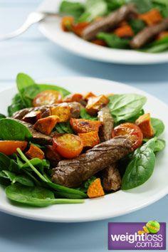 Healthy Salad Recipes: Cherry Tomato, Sweet Potato and Warm Beef Salad. #HealthyRecipes #DietRecipes #WeightlossRecipes weightloss.com.au