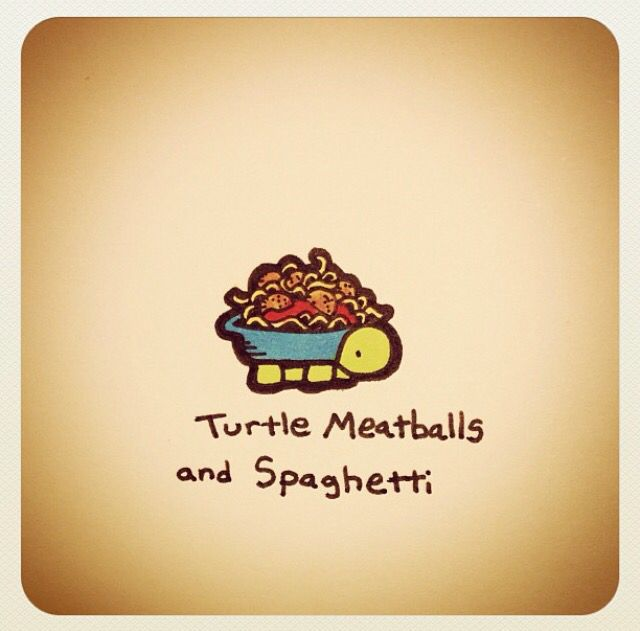 Turtle Meatballs and Spaghetti